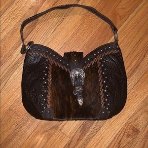 Gorgeous American West Leather and Cowhide Bag